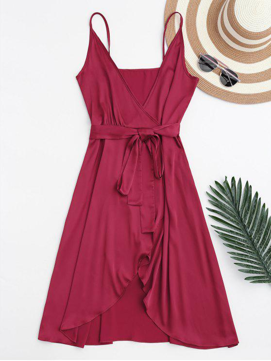 shops Spaghetti Straps Satin Belted Wrap Dress - RED XL