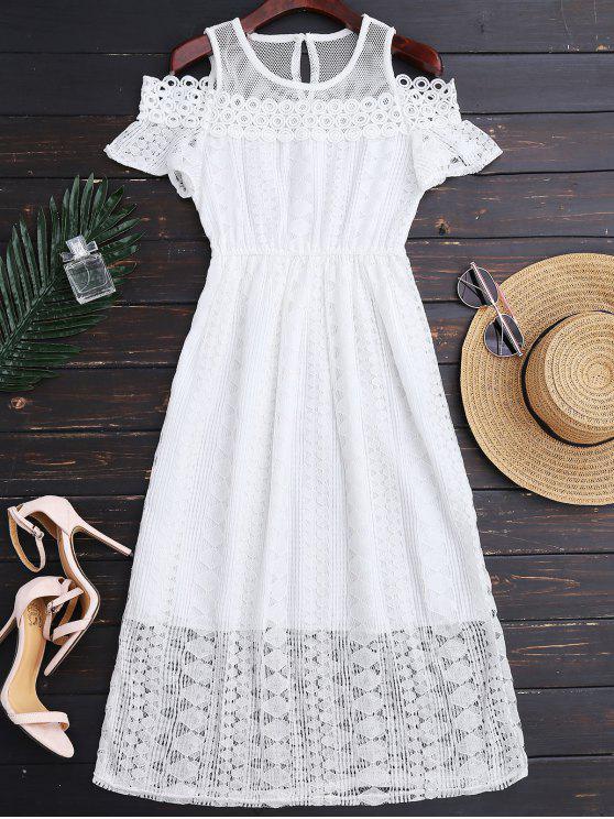 trendy Cold Shoulder Midi Crochet Lace Dress - WHITE M