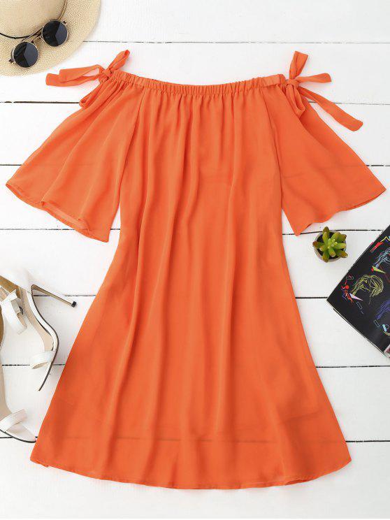 Vestido de Gasa con Hombros al Aire con Mangas con Lazo - Naranja M