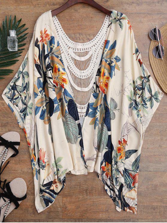 outfit Floral Crochet Panel Kimono Cover Up - FLORAL ONE SIZE