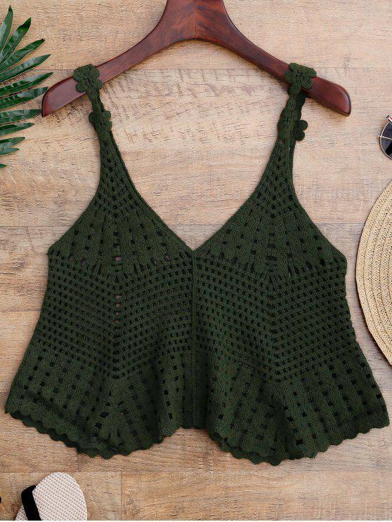Cover up ajouré en crochet - Vert Taille Unique