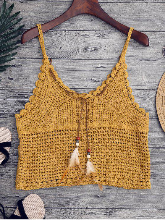 shops Crochet Cami Cover Up with Feather - GINGER ONE SIZE