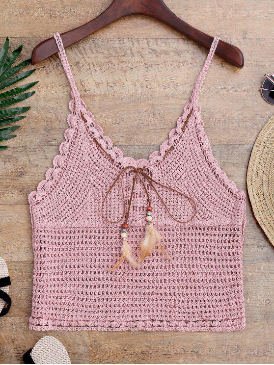 Cache maillot à bretelle en crochet avec plume - ROSE PÂLE Taille Unique