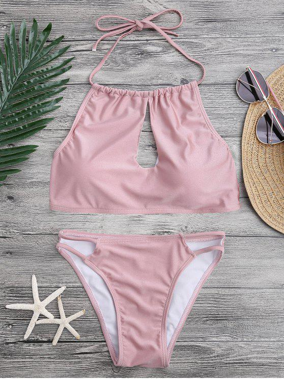 sale Keyhole Cut Out Halter Bikini Set - PINK S