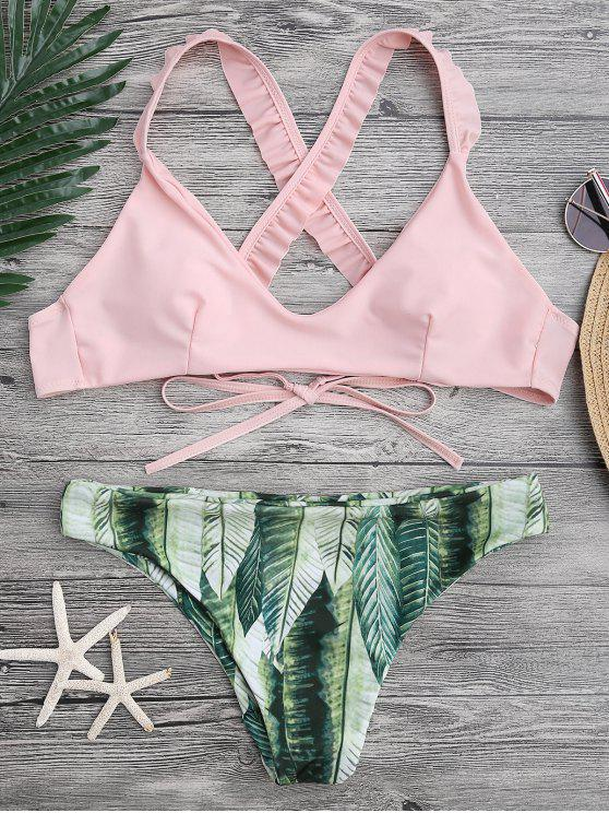 ladies Ruffled Bikini Top and Tropical Bottoms - PINK S