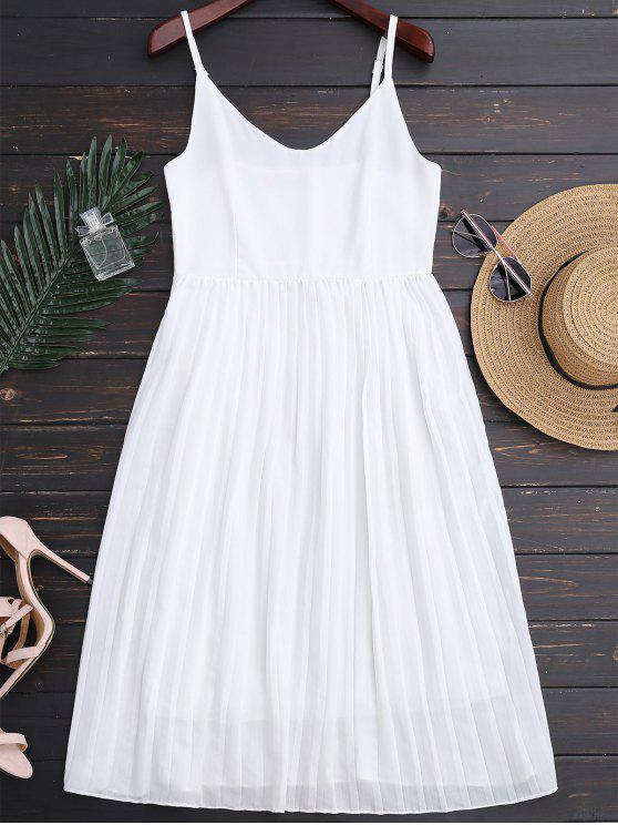 unique Chiffon Pleated Beach Slip Dress - WHITE M