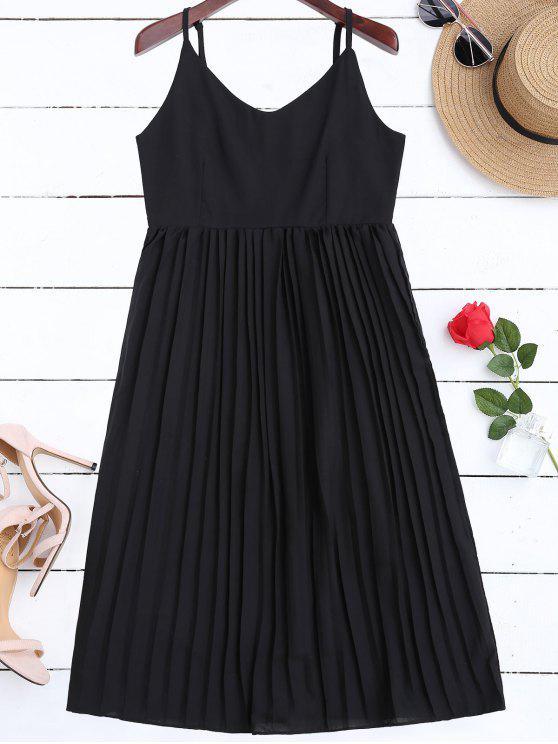 affordable Chiffon Pleated Beach Slip Dress - BLACK L