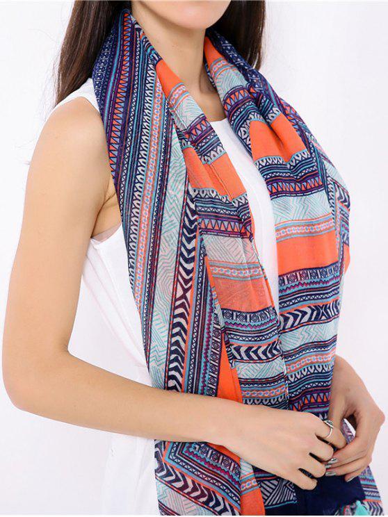 outfit Geometrical Pattern Tassel Bohemian Wrap Scarf - BLUE