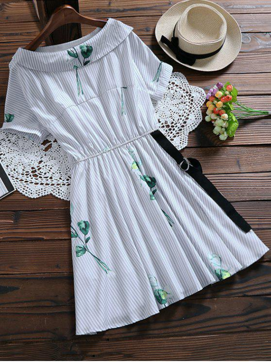 trendy Floral Striped Dress With Belt - LIGHT BLUE S