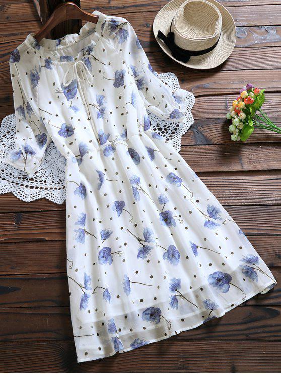Vestido de gasa con cintura elástica - Blanco S
