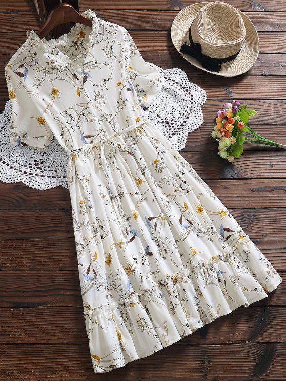 Vestido Floral con Faldas de Volantes en Talla Extra - Blanco L