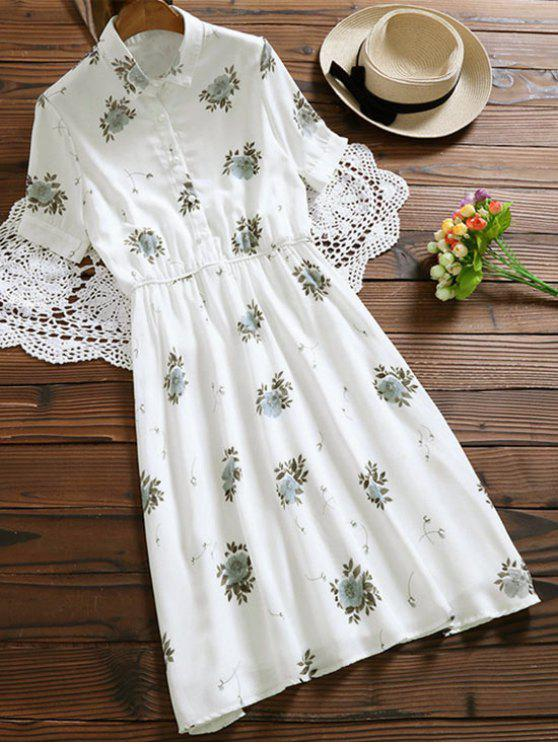 fashion Floral Buttoned Tea Length Shirt Dress - WHITE S