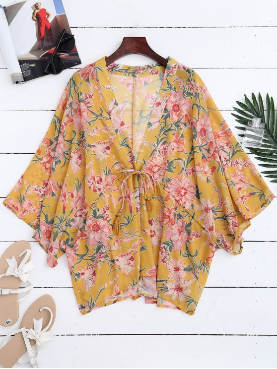 outfits Drawstring Floral Kimono Duster Coat - YELLOW L