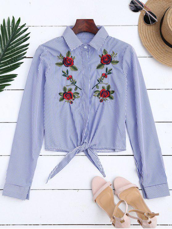 chic Floral Embroidered Tied Striped Shirt - STRIPE S