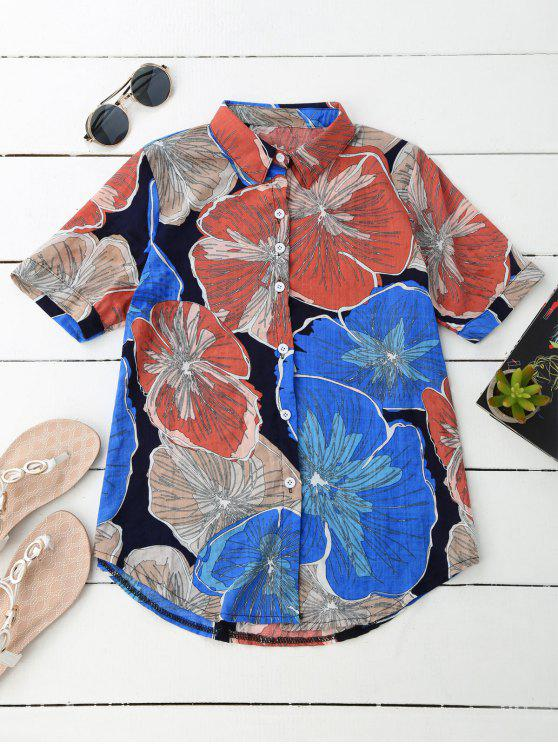 شيرت شاطئ طباعة الأزهار - مزيج ملون XL
