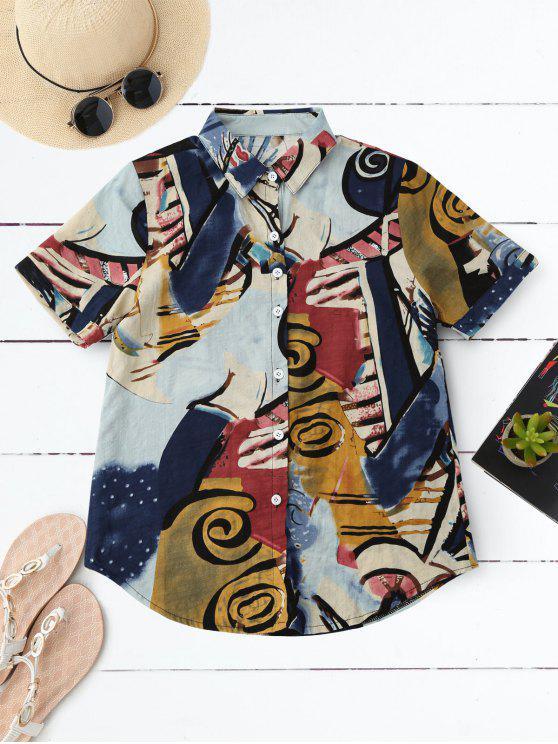 trendy Graffiti Print Holiday Shirt - COLORMIX S
