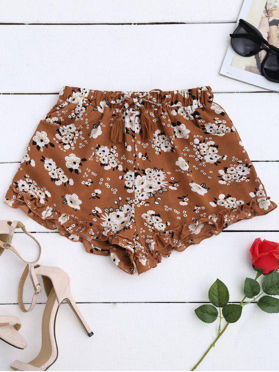 affordable Drawstring Floral Ruffled Shorts - FLORAL S