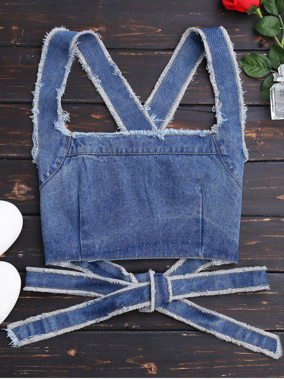 Bowknot Criss Cross Denim Crop Top - Denim Bleu L