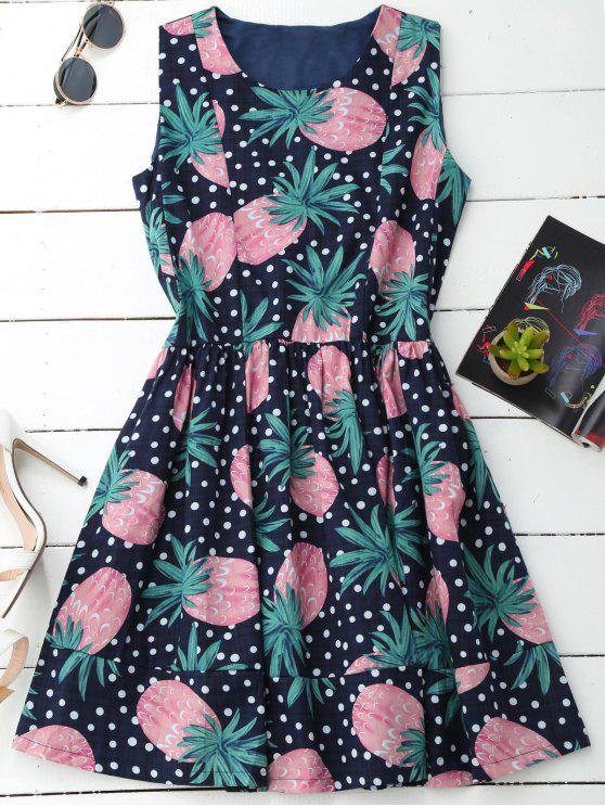 sale Polka Dot Pineapple Sleeveless Dress - COLORMIX L