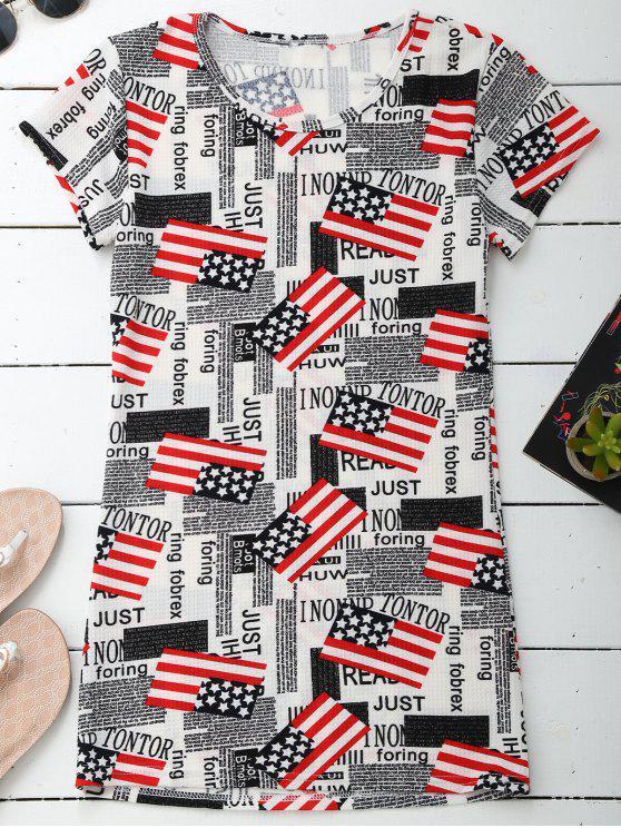Robe de style patriotique à manches courtes - Multicolore L