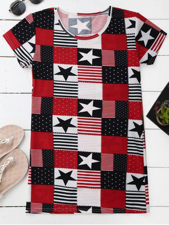 Patchwork Print Patriotic American Flag T-Shirt Dress - Multicolore L
