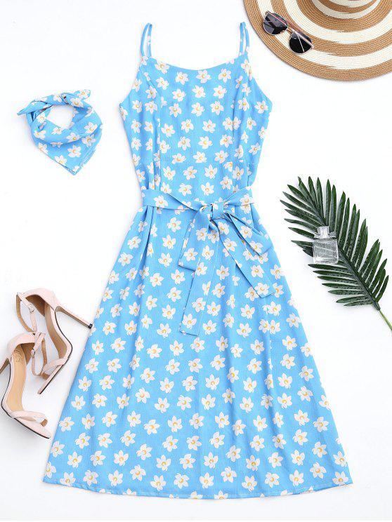 Belted Tiny Floral Cami Dress com lenço - Azul-celeste L