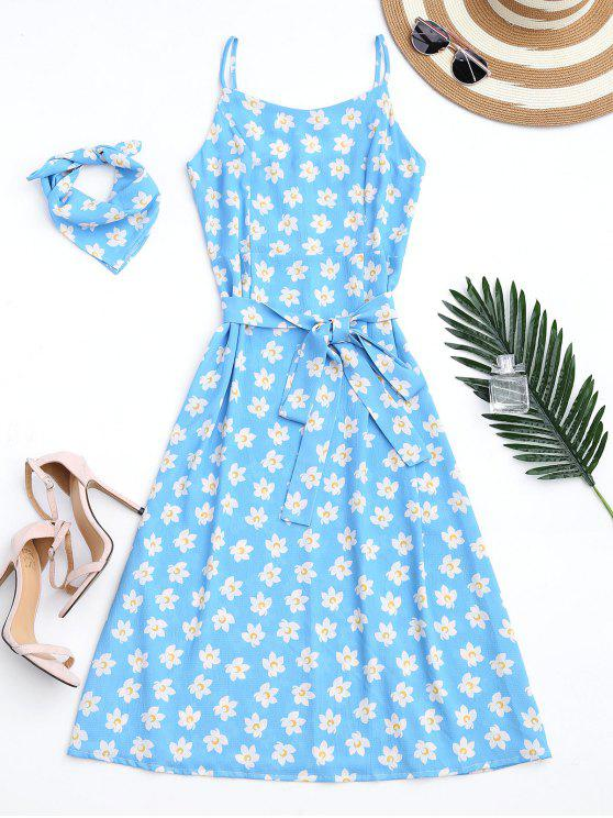 ladies Belted Tiny Floral Cami Dress with Scarf - AZURE XL