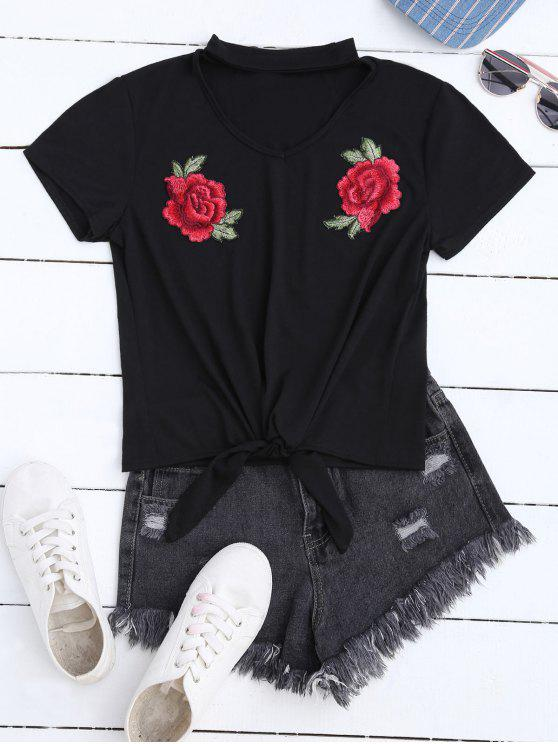 T-shirt floral do Choker do Applique - Preto L