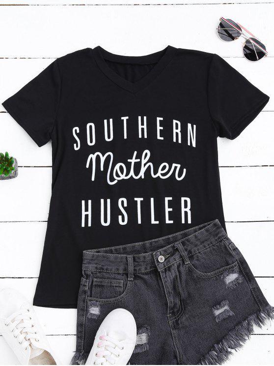 Camiseta gráfica con cuello en V de contraste - Negro L