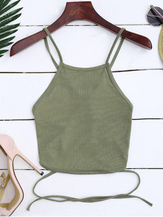 trendy Cross Back Lace Up Crop Top - ARMY GREEN L