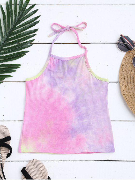 affordable Halter Tie Dye Ombre Top - PINK ONE SIZE
