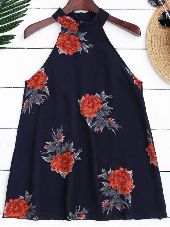 women Floral Print Flowy Choker Halter Top - PURPLISH BLUE L