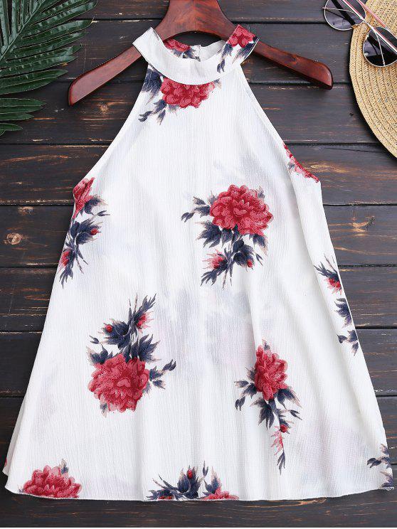 ladies Floral Print Flowy Choker Halter Top - WHITE XL