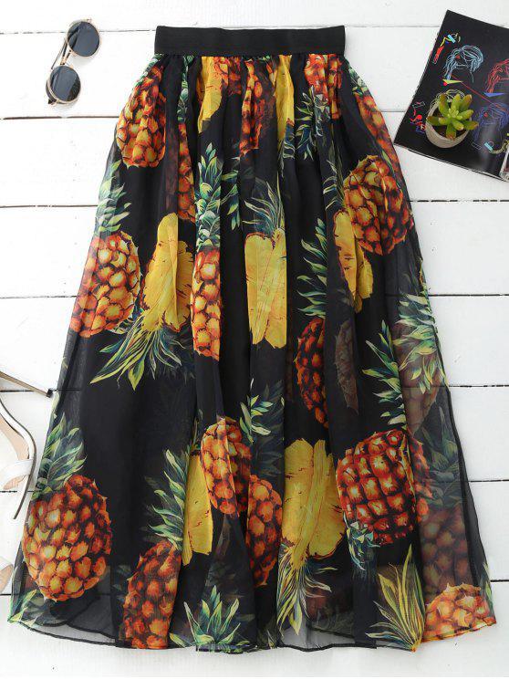 Falda de la impresión de la piña de Midi de la piña - Negro Única Talla