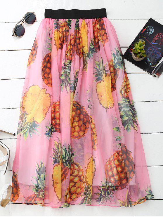 outfits Pineapple Print Midi Skirt - PAPAYA ONE SIZE