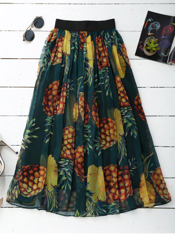 shop Pineapple Print Midi Skirt - GREEN ONE SIZE