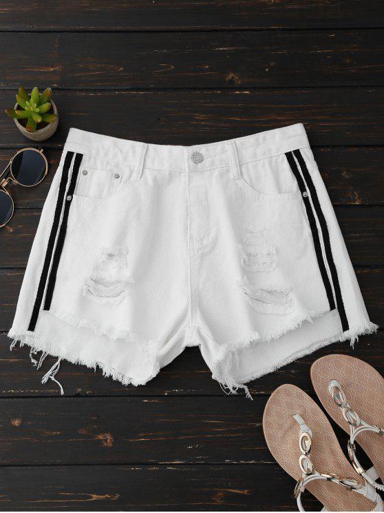 Pantalones cortos rasgados del dril de algodón con las rayas laterales - Blanco L