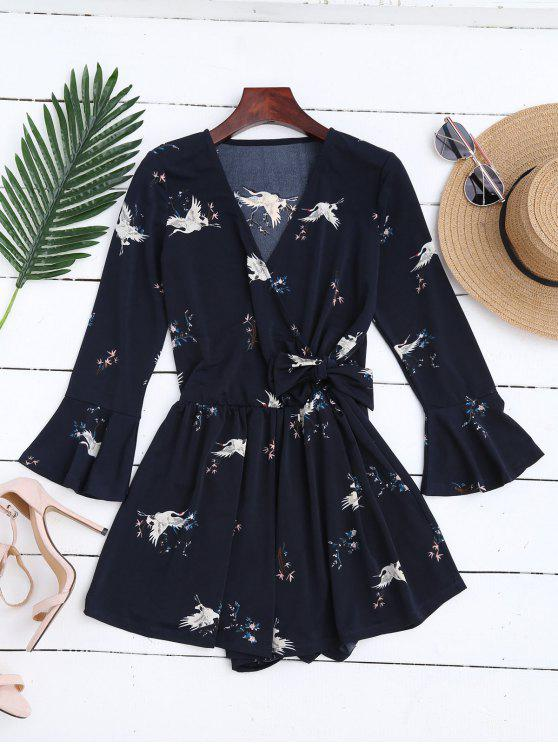 best Surplice Floral Flare Sleeve Romper - PURPLISH BLUE M