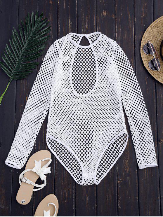 fashion Laser Cut High Leg Bodysuit - WHITE S