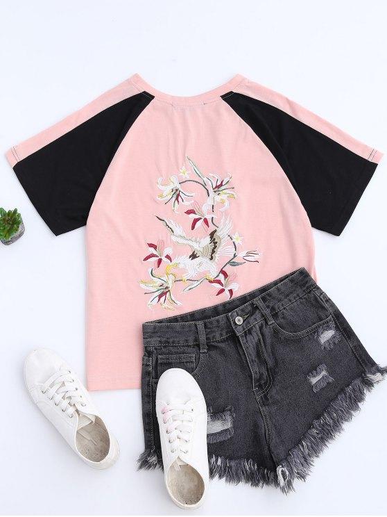 Camiseta del béisbol de la parte posterior del bloque de color - Rosa S