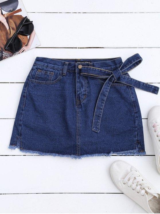 sale Self Tie Frayed Hem Denim Skirt - DEEP BLUE ONE SIZE