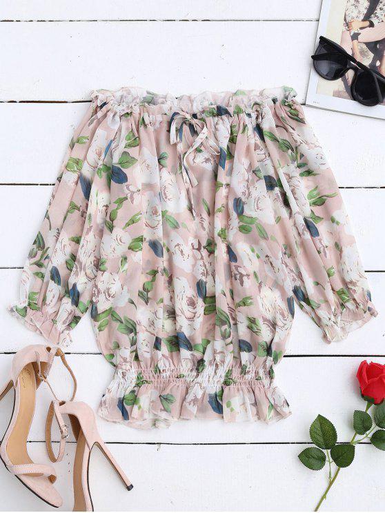 Floral Blusa de gasa de hombro - Floral S