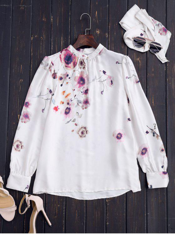 best Chinese Painting Blouse with Tie - WHITE S