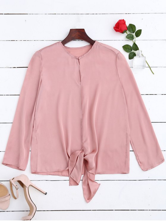 latest Satin Front Tie Blouse - PINK M