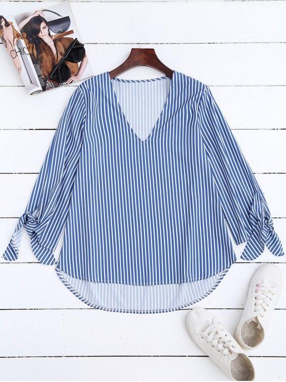 fashion High Low V Neck Striped Blouse - STRIPE L