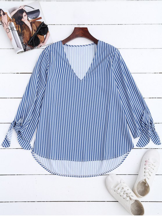 chic High Low V Neck Striped Blouse - STRIPE M