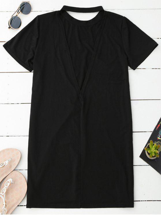 fashion Backless T-Shirt Dress - BLACK L