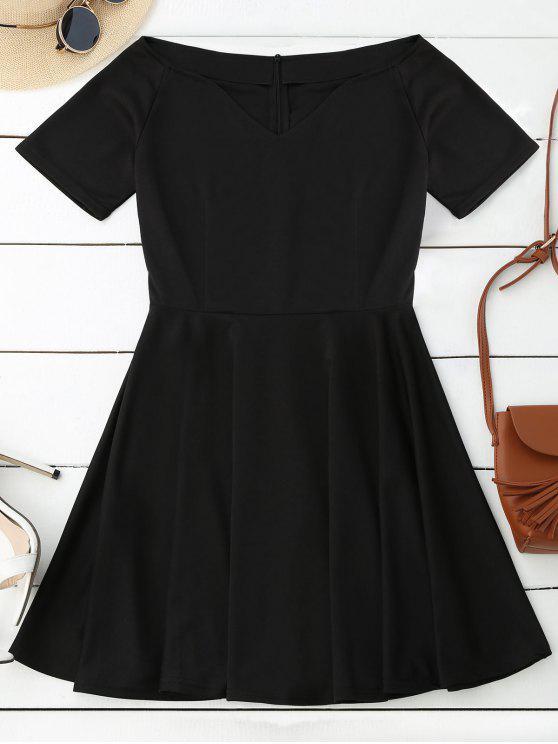 fashion V Neck Skater Dress - BLACK L