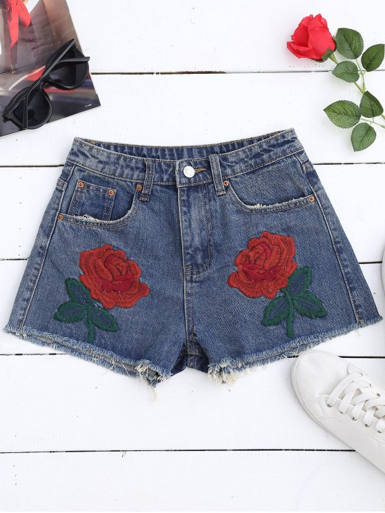 Cutoffs Shorts Denim Bordados - Jeans Azul XL