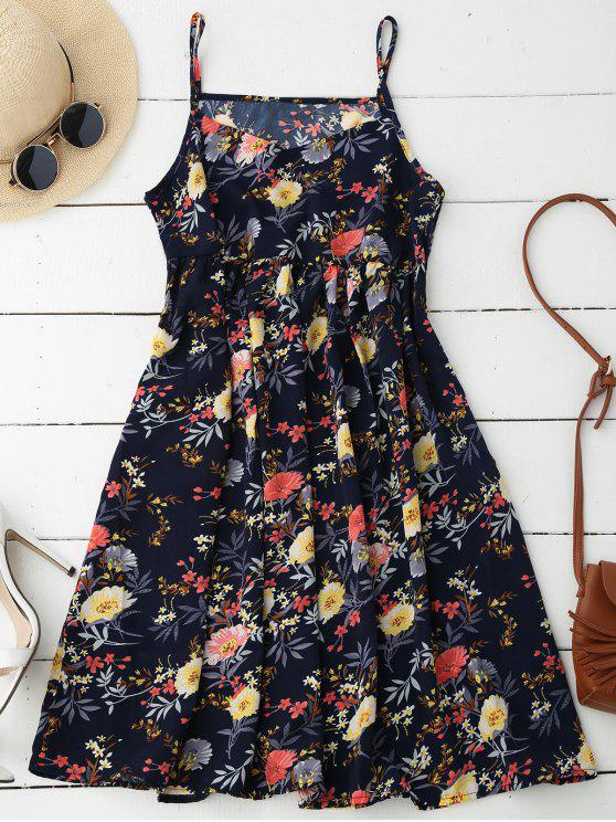 hot Cami Floral Smock Dress - DEEP BLUE M